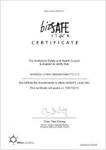 Biz Safe Star - Participation Certificate