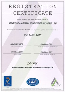 ISO 14001:2015 until 12 March 2024