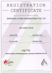 ISO 45001:2018 until 21 June 2024