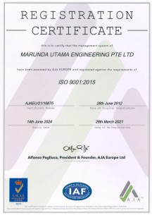 ISO 9001-2015 until 29 March 2021